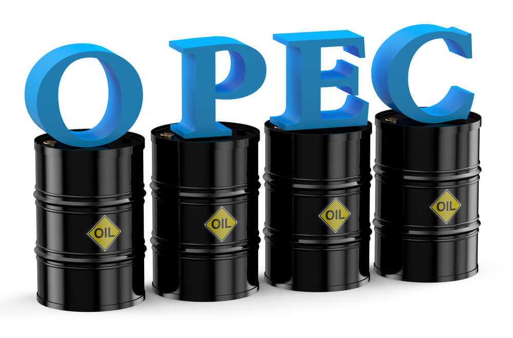 Wibest Broker- Oil Inventory Report: Barrels of oil are in the background with the acronym of Organization of the Petroleum Exporting Countries.