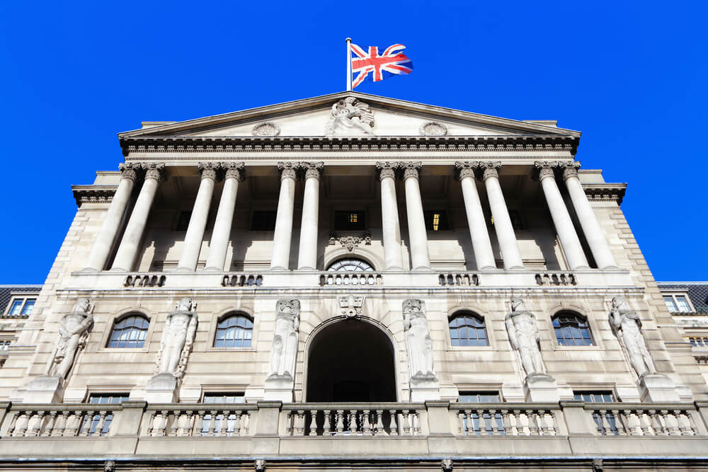 Wibest Broker — Monetary Policy: BoE with flag on the top and blue sky background.