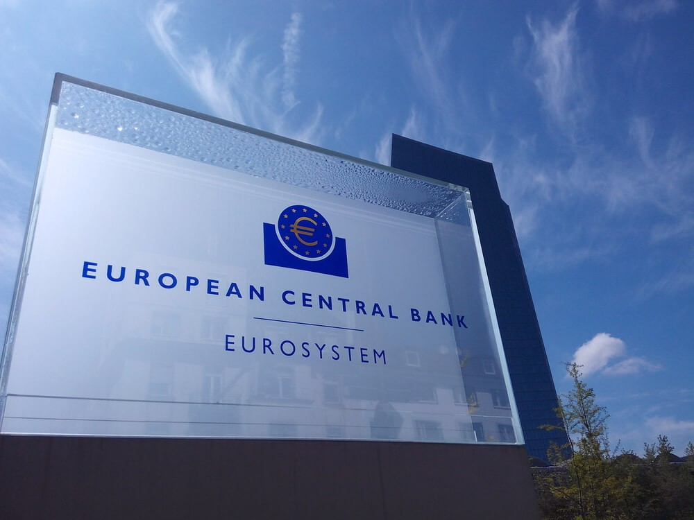 Sign of the European Central Bank with the headquarters in the background.