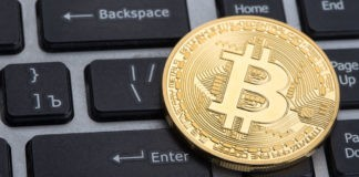 bitcoin concept on top of keyboard