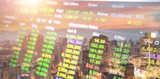 Stock Market on the cityscape at night background.